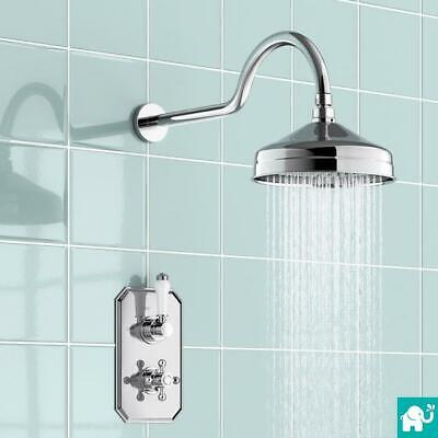 Chrome Traditional Victorian Shower Head Concealed Thermostatic Mixer Valve