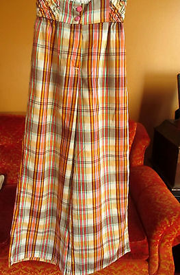 Sz 12 20x25 true Vtg 70s Girls PINK PLAID CLOTHY DISCO BELLBOTTOM HIPPIE JEANS