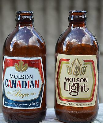 VINTAGE Stubby Steinie Empty BEER BOTTLE Lot of 2 MOLSON CANADIAN & LIGHT Clean