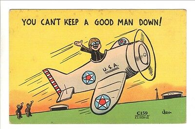 Military Related Postcard:  WWII era Comic - C159, Can't Keep a Good Man Down!