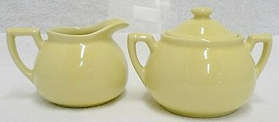 Hall Pottery Lipton Pale Yellow Creamer And Sugar Bowl With Lid Set