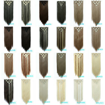 "Fashion 22"" Full Head Thick Synthetic Long Straight 7Pcs Clip In Hair Extensions"