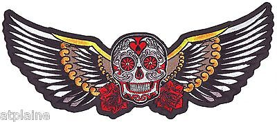 Grand patch brodé DAY OF THE DEATH SKULL - Style BIKER HARLEY