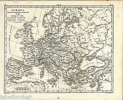 ANTIQUE PRINT VINTAGE 1850s ENGRAVING MAP HISTORICAL FRENCH REVOLUTION EUROPE
