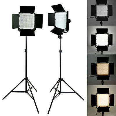 2 x Photo LED Photography Studio Video Light Panel Camera Dimmable Lighting kit