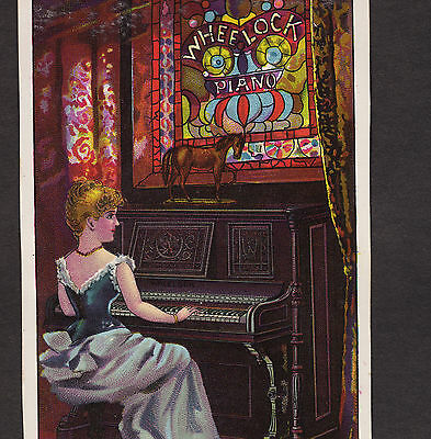 Wheelock Piano Stained Glass L&A Babcock Norwich NY Victorian Advertising Card