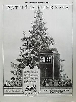 1920 Pathe Freres Phonograph is Supreme Christmas Tree Doll Drum  Ad