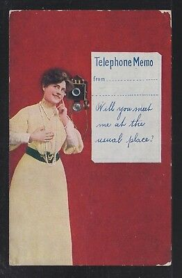 USA 1910's WOMAN & TELEPHONE MEMO POSTCARD UNUSED
