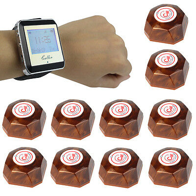 Wireless Restaurant Waiter Paging Calling System Watch Receiver+Call ButtonPager