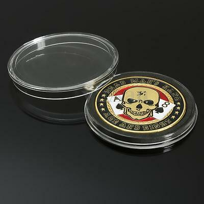 Metal 40mm TEXAS Poker Card Guard Holder Protector Coin Chip Cover + Case Box