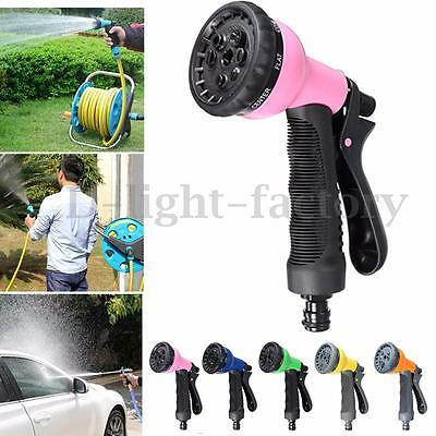 8 Function Soft Grip Garden Spray Gun Nozzle Hose Water Sprayer Multi Pattern