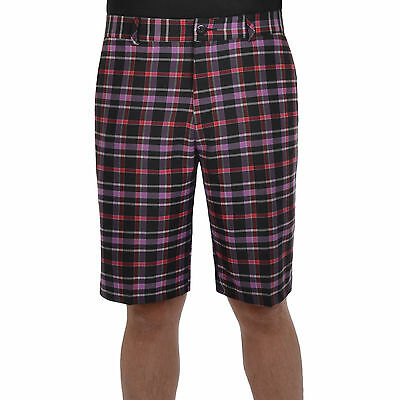 adidas Golf Mens Climalite 3 Stripe Checked Flat Front Shorts - W32