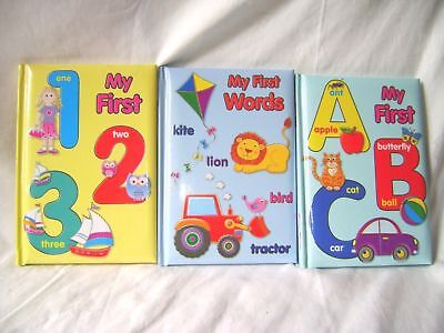 New Set Of 3 Padded Books My First Words, Abc And 123 Letters Numbers Od