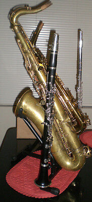 Double Saxophone Stand with Flute and Clarinet Pegs! Special- Free US shipping!