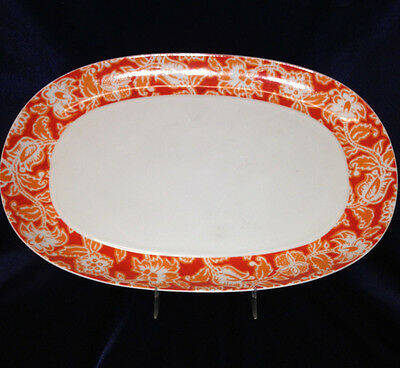 "Block Spain Valencia 14 3/8"" Oval Serving Platter Bidasoa Orange & White Floral"