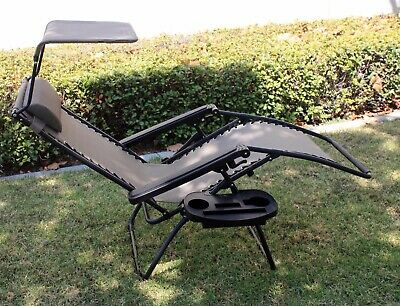 OutDoor Folding Recliner Zero Gravity Lounge Chair w/ Shade Canopy & Cup Holder