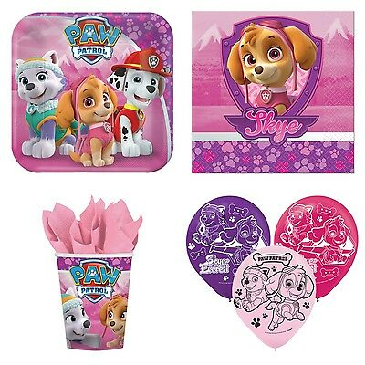 Paw Patrol Girls Party Supplies Pack for 8 - Plates, Napkins, Cups and Balloons