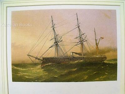 Antique Colour Lithographic Print HMS Defence Victorian Ships Of Royal Navy
