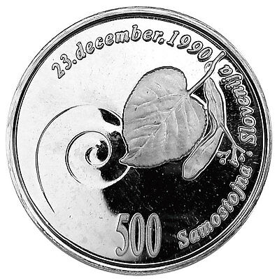 SLOVENIA 500 TOLARJEV 1991 Silver PF 1st Anniversary of Independence