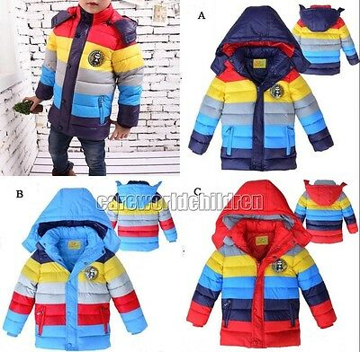Boys Kids Wadded Jacket Cotton-padded Clothes Coat Outwear Snowsuit Xmas Gift