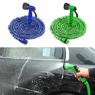UK 75FT/100FT EXPANDABLE FLEXIBLE GARDEN HOSE PIPE 3x EXPANDING WITH SPRAY GUN