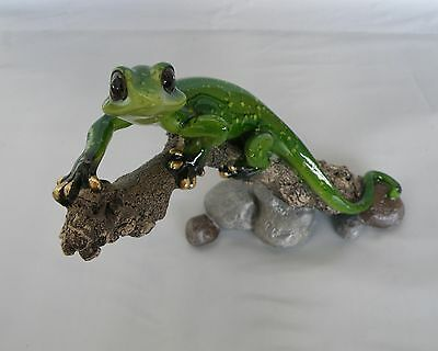 Golden Pond Gecko On A Branch Figurine/Statue * New * Gecko Gift