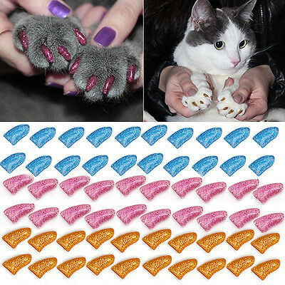 20/40Pcs Simple Pet Nail Caps Cover Soft Rubber Dog Cat Kitten Claw Paw Control