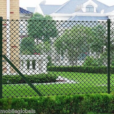 1 x 15 m PVC Coating Chain Fence Mesh Fence with Posts All Hardware Green