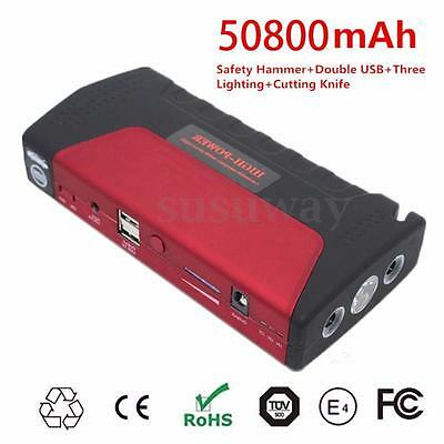 Portable 50800mAh Car Jump Starter Booster LED Power Bank Rechargable Charger