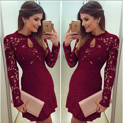 Sexy Women Casual Dress Evening Cocktail Lace Long Sleeve Bodycon Mini Skirt
