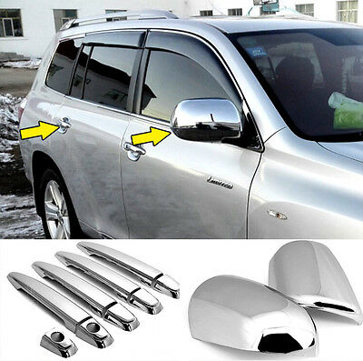 Fit For Toyota Highlander 08-13 Chrome Door Handle Cover Side Wing Mirror Trim