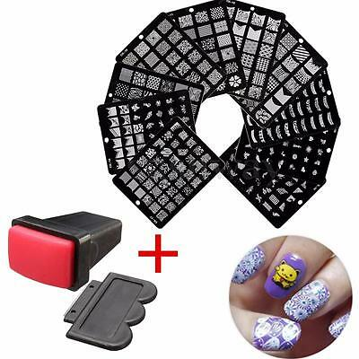 Tampon + Grand Pochoir Stamping Template Plaque Stamp Ongles Image Nail Art Kit
