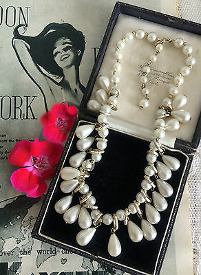 Vintage 50s 60s Beautiful Faux Pearls Fringe Drop Necklace Signed. Bridal. GIFT