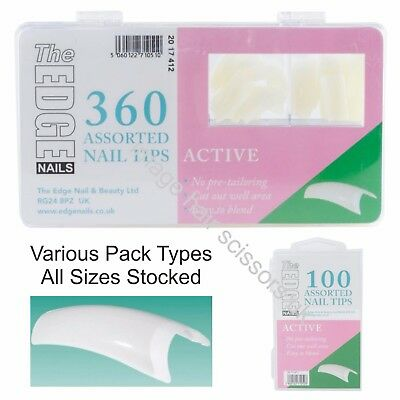 The Edge ACTIVE Natural Half Well Nail Tips Box of 360, 100 Or Refill Packs 50