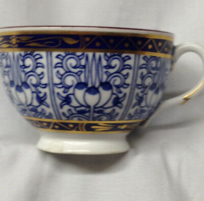 Royal Worcester Lily Footed Cup 6 Oz Blue & Gold Decor On White Red Trim