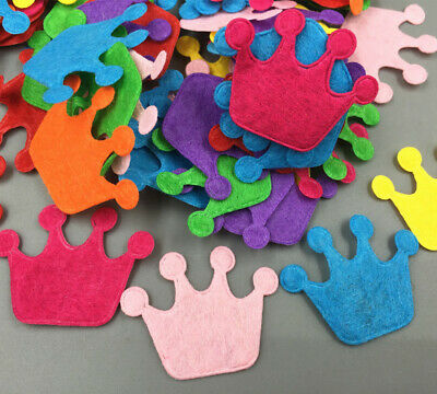 100pcs Imperial crown shape Mixed Colors Die Cut Felt Appliques Cardmaking Craft
