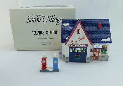 Dept 56 Service Station 51284 Snow Village 1988 Retired Lighted Ceramic With Box