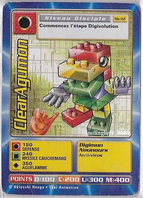 1 USED TOEI DIGIMON FRENCH SERIES CARD - Bo-112 CLEARAGUMON (Average Condition)