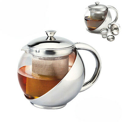 Stainless Steel Glass Teapot Tea pot with Strainer  1100ml/ 37 fl oz Capacity!