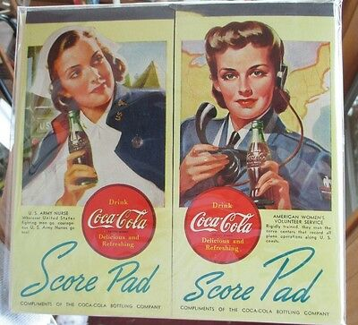 Two 1940s WWII COCA-COLA MILITARY BRIDGE SCORE PADS..NOS & MINT!