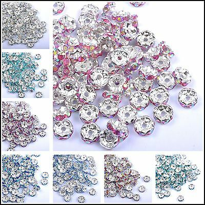 Wholesale 100pcs Quality Crystal Rhinestone Silver Rondelle Spacer Beads Finding