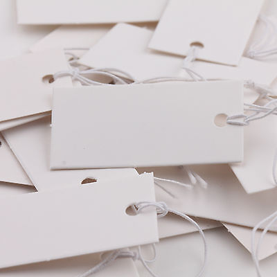 New Lots 100Pcs Rectangle White Blank Paper Tags With Elastic String DIY 40x20mm
