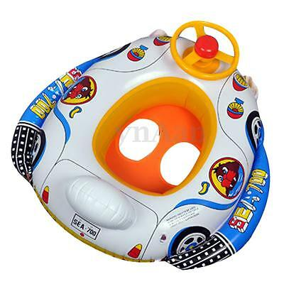 Kids Baby Inflatable Swim Ring Pool Seat Float Boat Swimming Aid Wheel Horn