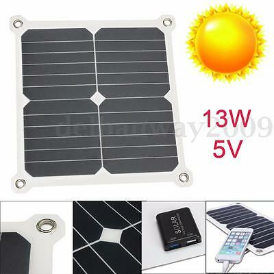 Portable 13W 5V Semi-Flexible Mono Solar Panel Cell Dual USB Charger For Camping