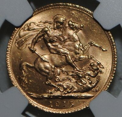 1915 Great Britain Gold Sovereign King George NGC MS63 Uncirculated BU Coin UK