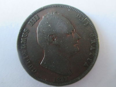 King William Iv British Copper Halfpenny Coin Dated 1831  Gf