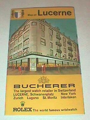 Map of Lucerne, Switzerland With Ads For Bucherer Watches, Rolex, Vintage
