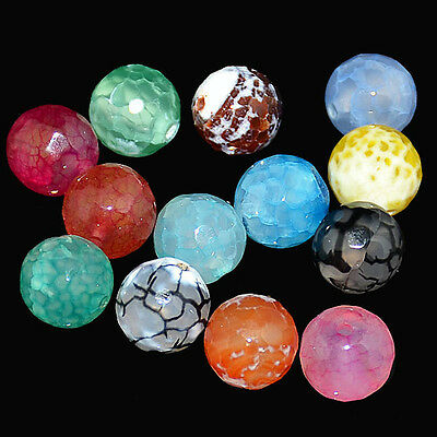 """Multi-Color Faceted Agate Round Beads 15.5"""" 4mm 6mm 8mm 10mm 12mm 14mm 16mm"""