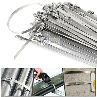 "100 x 12"" Stainless Steel Cable Zip Ties Self Locking Straps Header Exhaust Wrap"