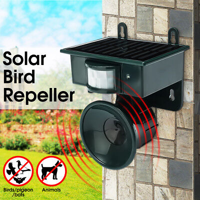 Solar PIR Motion Sensor Ultrasonic Bird Repeller Pest Bat Animal Scarer Distress